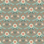 Lewis & Irene Cheiveley - 5630  - Floral, Copper on Duckegg (Metallic) - A242.2 - Cotton Fabric