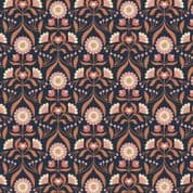 Lewis & Irene Cheiveley - 5631  - Floral, Copper on Navy Blue (Metallic) - A242.3 - Cotton Fabric