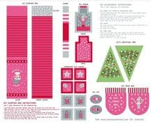 Lewis & Irene - Christmas Glow - 6710 -  Elf Accessories Panel, Red & Pink - C50.2 - Cotton Fabric