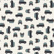 Lewis & Irene - City Nights - 6026 - Black Taxis on White (Metallic) - A292.1 - Cotton Fabric