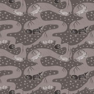 Lewis & Irene Enchanted Forest - 5096 - Bunny Tunnels in Brown & Taupe - A188.1 - Cotton Fabric