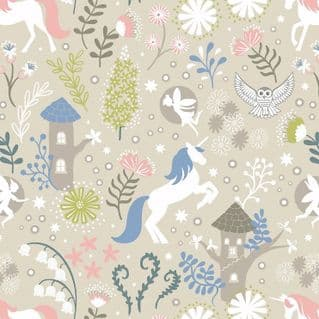 Lewis & Irene - Fairy Lights - 6098 - Unicorn Forest on Beige (Glowing)- A308.1 - Cotton Fabric