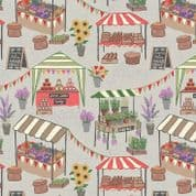 Lewis & Irene Farmers Market - 5345 - Market Stalls on Pale Grey - A209.2 - Cotton Fabric