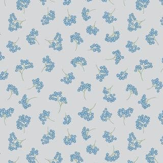 Lewis & Irene Flo's Wildflowers - 5428 - Forget-Me-Nots on Pale Grey - FLO8.4 - Cotton Fabric