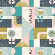 Lewis & Irene - Forme - 6921 - Modern Geometric Floral in Pink & Blues  - A408.1 - Cotton Fabric