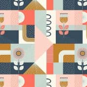 Lewis & Irene - Forme - 6922 - Modern Geometric Floral, Pink, Tan & Coral  - A408.2 - Cotton Fabric