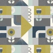 Lewis & Irene - Forme - 6923 - Modern Geometric Floral in Olive and Grey - A408.3 - Cotton Fabric