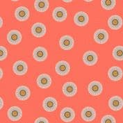 Lewis & Irene - Forme - 6929 - Abstract Floral, Olive on Coral - A410.3 - Cotton Fabric