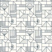 Lewis & Irene - Forme - 6930 - Geometric, Navy on Off White - A411.1 - Cotton Fabric