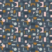 Lewis & Irene - Forme - 6935 - Scattered Geometric on Navy - A412.3 - Cotton Fabric
