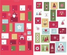 Lewis & Irene - Hygge Christmas - 5993 - Advent Calender on Red - C32.2 - Cotton Fabric