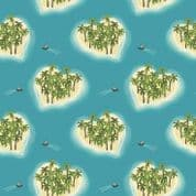 Lewis & Irene Island Girl - 5299 - Tropical Islands on Aqua - A190.2 - Cotton Fabric
