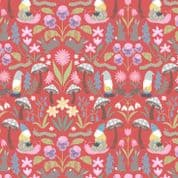 Lewis & Irene - Jolly Spring - 6351 - Garden Gnomes & Flowers on Red - A341.3 - Cotton Fabric