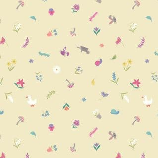 Lewis & Irene - Jolly Spring - 6353 - Scattered Garden Motifs, Pale Yellow - A342.2 - Cotton Fabric