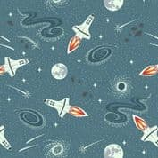 Lewis & Irene - Light Years - 7140 - Teal Blue Rockets - 421.1 - Glow in the Dark Cotton Fabric