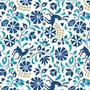 Lewis & Irene - Lindos - 5863 - Floral Print with Deer, Blue on White - A268.1 - Cotton Fabric