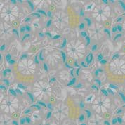 Lewis & Irene - Lindos - 5865 - Floral Print with Deer, Aqua and Grey - A268.3 - Cotton Fabric