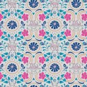Lewis & Irene - Lindos - 5869 - Stylised Greek Floral Print on Pale Grey - A270.1 - Cotton Fabric