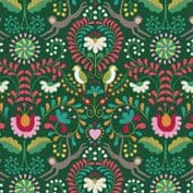 Lewis & Irene - Maya - 6807 - Stylised Floral with Birds & Animals on Green - A383.2 - Cotton Fabric