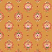 Lewis & Irene - Maya - 6812 - Heart Floral on Amber - A385.1 - Cotton Fabric