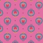 Lewis & Irene - Maya - 6813 - Heart Floral on Cerise Pink - A385.2 - Cotton Fabric
