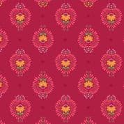 Lewis & Irene - Maya - 6814 - Heart Floral on Red - A385.3 - Cotton Fabric