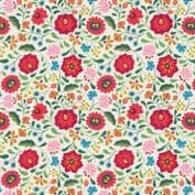 Lewis & Irene - Maya - 6818- Folksy Floral on White - A387.1 - Cotton Fabric