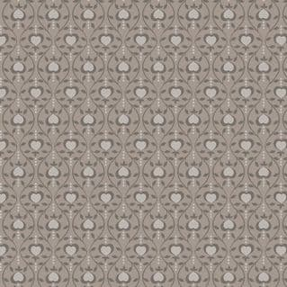 Lewis & Irene - Michaelmas - 6829 - Stylised Heart Floral in Dark Taupe - A400.3 - Cotton Fabric