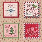 Lewis & Irene North Pole - 5494 - Christmas Label Squares on Beige - C11.2 - Cotton Fabric