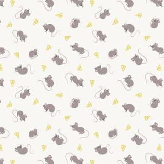 Lewis & Irene - Small Things Country Creatures - 6150 - Mice on White  - ASM13.1 - Cotton Fabric