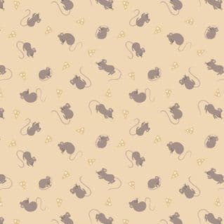 Lewis & Irene - Small Things Country Creatures - 6151 - Mice on Beige  - ASM13.2 - Cotton Fabric