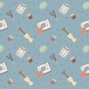 Lewis & Irene Small Things Craft - 7358 - Dressmaking on Grey Blue SM32.3 - Cotton Fabric