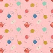 Lewis & Irene Small Things Craft - 7360 - Knitting & Crochet on Pink SM33.2 - Cotton Fabric