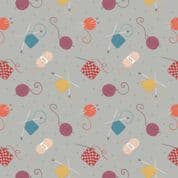Lewis & Irene Small Things Craft - 7361 - Knitting & Crochet on Grey SM33.3 - Cotton Fabric