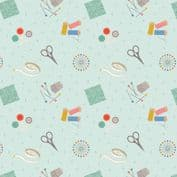 Lewis & Irene Small Things Craft - 7362 - Sewing on Light Blue SM34.1 - Cotton Fabric