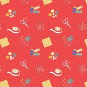 Lewis & Irene Small Things Craft - 7364 - Sewing on Red SM34.3 - Cotton Fabric