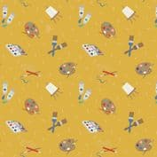 Lewis & Irene Small Things Craft - 7365 - Painting on Yellow SM35.1 - Cotton Fabric