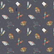 Lewis & Irene Small Things Craft - 7367 - Painting on Charcoal Grey SM35.3 - Cotton Fabric