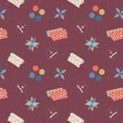 Lewis & Irene Small Things Craft - 7369 - Quilting on Wine SM36.2 - Cotton Fabric