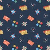 Lewis & Irene Small Things Craft - 7370 - Quilting on Navy Blue SM36.3 - Cotton Fabric