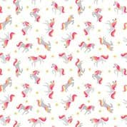 Lewis & Irene - Small Things Mythical & Magical - 5911 - Unicorns on White - SM6.1 - Cotton Fabric