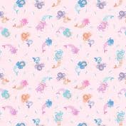 Lewis & Irene - Small Things Mythical & Magical - 5915 - Mermaids on Pink - SM7.2 - Cotton Fabric