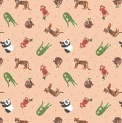 Lewis & Irene - Small Things World Animals - 6885 - Asian on Peach - SM25.1 - Cotton Fabric