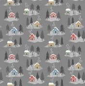 Lewis & Irene - Snow Day - 5967 - Trees & Houses on Dark Grey, Pearlescent - C36.3 - Cotton Fabric