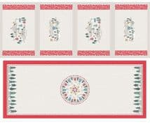Lewis & Irene - Snow Day - 6001 - Table Centre & Placemats Grey & Red - C40.1 - Cotton Fabric