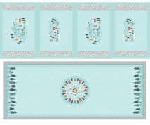 Lewis & Irene - Snow Day - 6003 - Table Centre & Placemats Pale Blue & Grey - C40.3 - Cotton Fabric