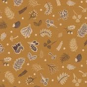 Lewis & Irene - Under The Oak Tree - 6894 - Scattered Autumn Foliage,  Gold - A394.1 - Cotton Fabric