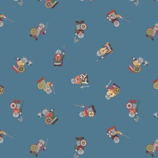 Lewis & Irene - Viking Adventure - 6943 - Scattered Viking Soldiers on Blue - A378.2 - Cotton Fabric