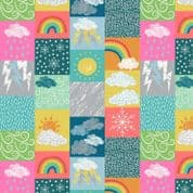 Lewis & Irene - Whatever The Weather - 6407 - Weather Collage, Multi Bright - A370.2 - Cotton Fabric