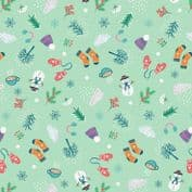 Lewis & Irene - Whatever The Weather - 6409 - Winter Motifs on Aqua - A371.1 - Cotton Fabric